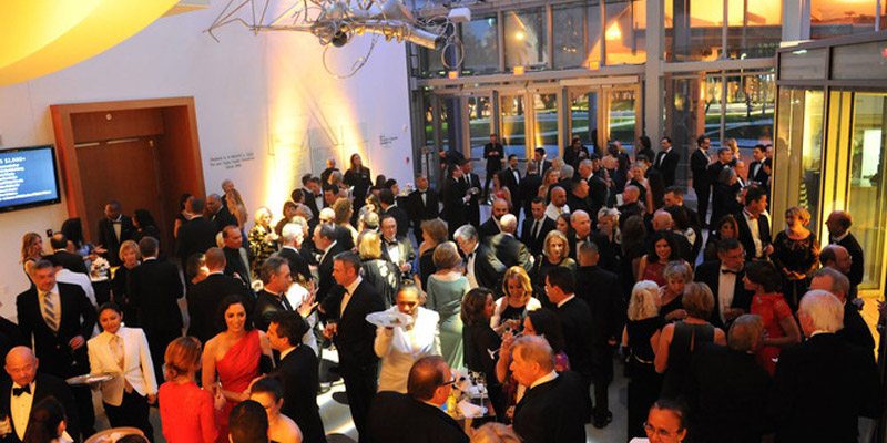 NWS Gala Guests mingling in Atrium of New World Center